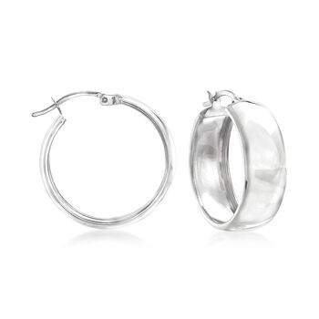 "Sterling Silver Hoop Earrings. 1"", , default"