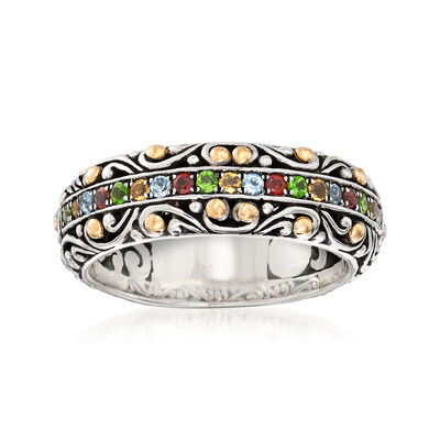 .34 ct. t.w. Multi-Gemstone Balinese Ring in Sterling Silver with 18kt Yellow Gold, , default