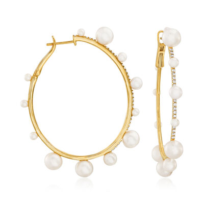 2.5-7mm Cultured Pearl and .38 ct. t.w. Diamond Hoop Earrings in 14kt Yellow Gold, , default