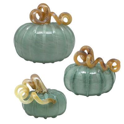 Mariposa Teal Glass Pumpkin