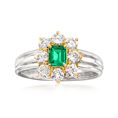C. 1990 Vintage .60 ct. t.w. Diamond and .28 Carat Emerald Ring in Platinum and 18kt Yellow Gold, , default