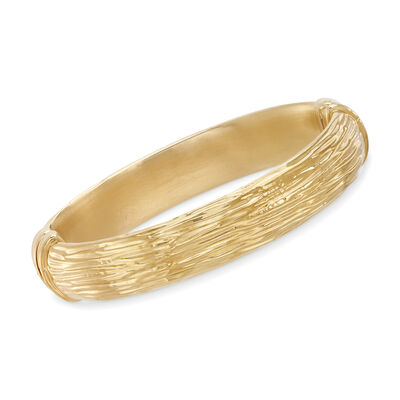 Italian Andiamo 14kt Yellow Gold Textured Bangle Bracelet, , default