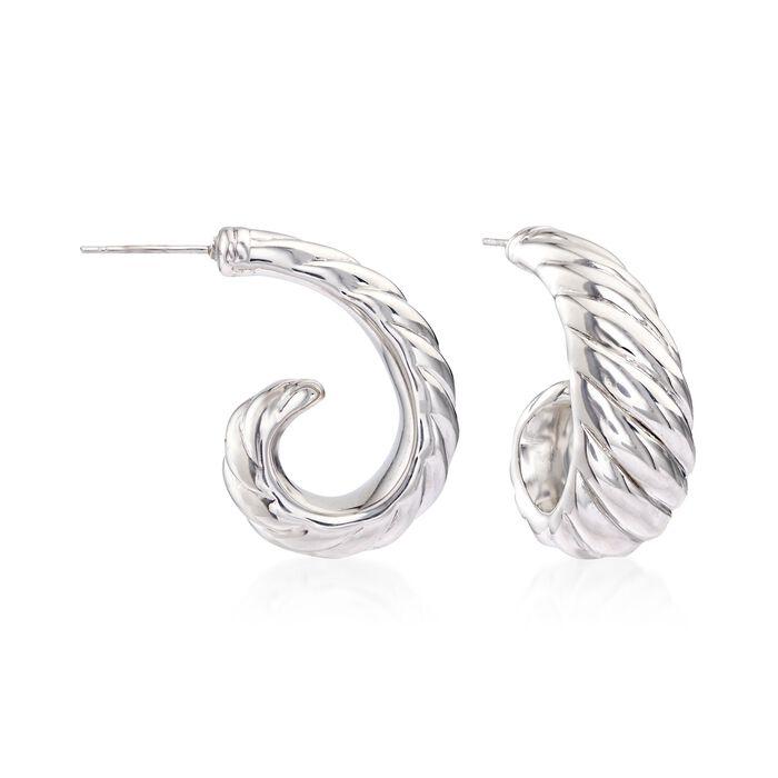 """Sterling Silver Shrimp J-Hoop Earrings. 1"""""""