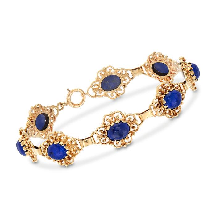 """C. 1980 Vintage Lapis Bracelet in 14kt Yellow Gold. 7"""", , default"""