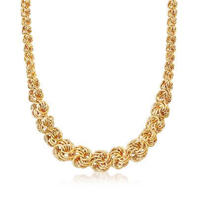 Italian 14kt Yellow Gold Rosetta-Link Necklace, , default