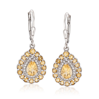 1.80 ct. t.w. Yellow Citrine and .20 ct. t.w. White Topaz Drop Earrings in Sterling Silver, , default