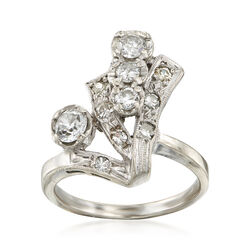 C. 1960 Vintage .90 ct. t.w. Diamond Dinner Ring in 14kt White Gold, , default