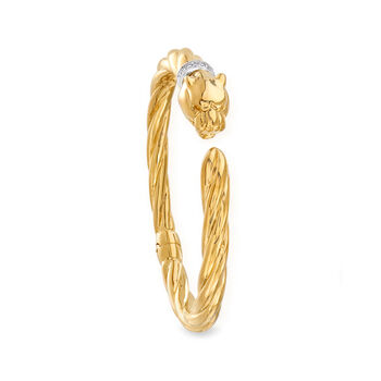 """Phillip Gavriel """"Italian Cable"""" Panther Cuff Bracelet with Diamond Accents in 14kt Yellow Gold. 7"""", , default"""
