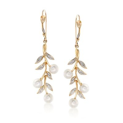 5mm Cultured Pearl and Diamond Accent Leaf Drop Earrings in 14kt Yellow Gold, , default