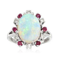 C. 1970 Vintage Opal and .50 ct. t.w. Diamond and Ruby Ring in 14kt White Gold, , default