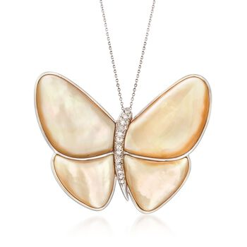 "C. 1980 Vintage Champagne Mother-Of-Pearl and Diamond Butterfly Pin Pendant Necklace in 14kt and 18kt Gold. 18"", , default"