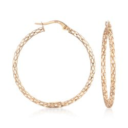 "14kt Yellow Gold Mesh-Style Hoop Earrings. 1 1/4"", , default"