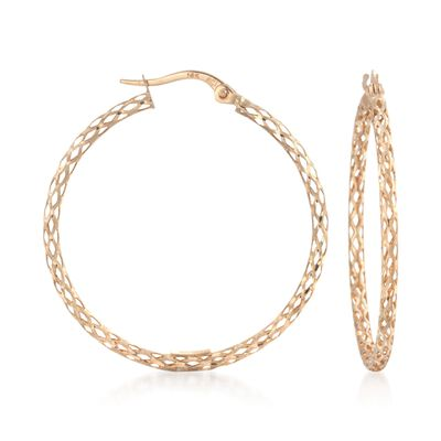 14kt Yellow Gold Mesh-Style Hoop Earrings, , default