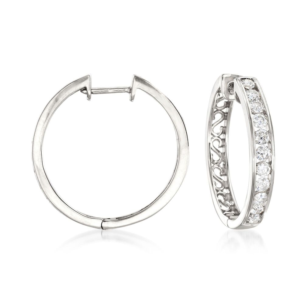 T W Channel Set Diamond Hoop Earrings In 14kt White Gold 3