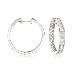 "1.00 ct. t.w. Channel-Set Diamond Hoop Earrings in 14kt White Gold. 3/4"", , default"