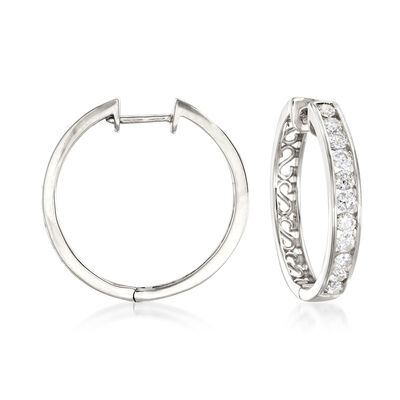 1.00 ct. t.w. Channel-Set Diamond Hoop Earrings in 14kt White Gold, , default