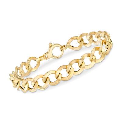 Italian 18kt Yellow Gold Flat-Link Bracelet, , default