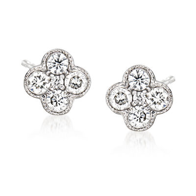 Gabriel Designs .25 ct. t.w. Diamond Cluster Stud Earrings in 14kt White Gold, , default
