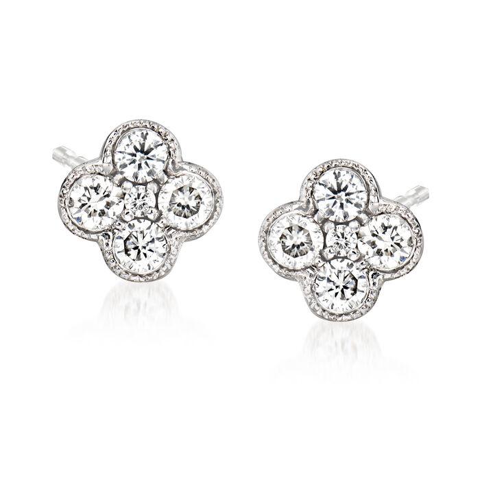 Gabriel Designs .25 ct. t.w. Diamond Cluster Stud Earrings in 14kt White Gold, , default