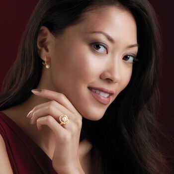 """5.5-6mm Cultured Pearl Spiral Hoop Earrings in 14kt Yellow Gold. 5/8"""""""