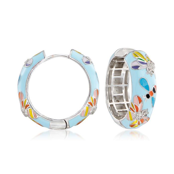 .40 ct. t.w. White Topaz and Multicolored Enamel Critter Hoop Earrings in Sterling Silver