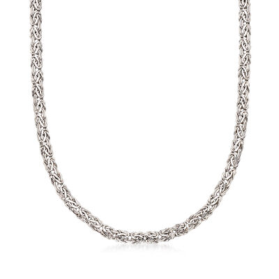 14kt White Gold Flat Byzantine Necklace, , default