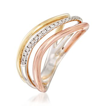 .12 ct. t.w. Diamond Wave Ring in 18kt Tri-Colored Gold, , default