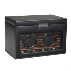"""Roadster"" Black and Ebony Macassar Double Watch Winder With Storage by Wolf Designs, , default"