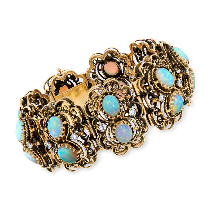 """C. 1970 Vintage Opal and 1.65 ct. t.w. Diamond Double-Row Bracelet in 14kt Yellow Gold. 6.75"""""""