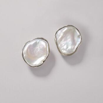 13-14mm Bezel-Set Cultured Keshi Pearl Earrings in Sterling Silver, , default