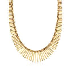 "C. 1980 Vintage Unoaerre 14kt Yellow Gold Graduated Fringe Necklace. 17"", , default"