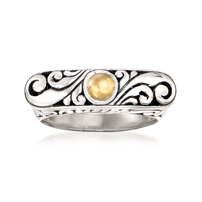 Sterling Silver Bali-Style Ring with 14kt Yellow Gold