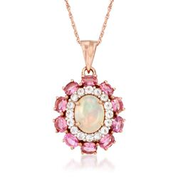 "Opal and 2.50 ct. t.w. Pink Tourmaline Pendant Necklace With White Topaz in 14kt Rose Gold Over Sterling. 18"", , default"