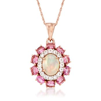 """Opal and 2.50 ct. t.w. Pink Tourmaline Pendant Necklace With White Topaz in 14kt Rose Gold Over Sterling. 18"""", , default"""