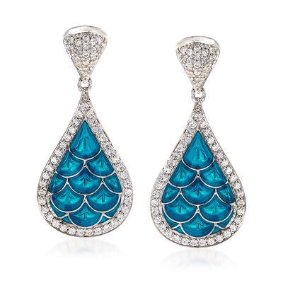 """Belle Etoile """"Marina"""" Sea-Blue Enamel and 1.20 ct. t.w. CZ Earrings in Sterling Silver, , default"""
