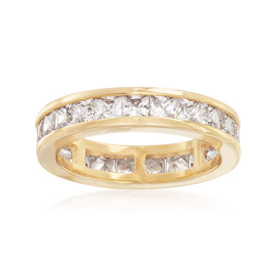3.00 ct. t.w. CZ Eternity Band in 18kt Yellow Gold Over Sterling Silver, , default
