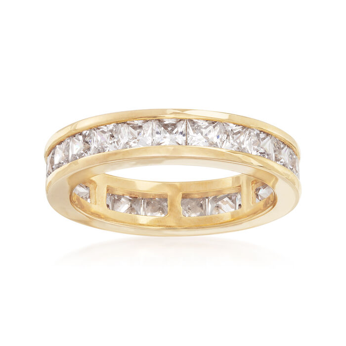 3.00 ct. t.w. CZ Eternity Band in 18kt Yellow Gold Over Sterling Silver