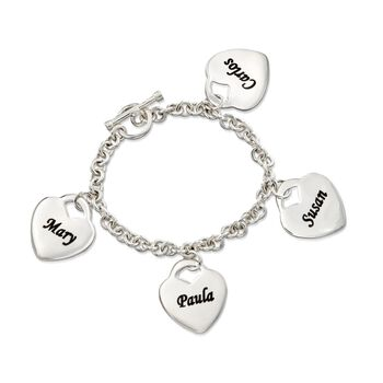 "Sterling Silver Personalized 4-Heart Charm Bracelet. 7"", , default"