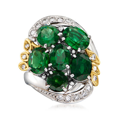 C. 1980 Vintage 4.73 ct. t.w. Green Tourmaline and .24 ct. t.w. Diamond Cluster Ring in Platinum and 18kt Yellow Gold