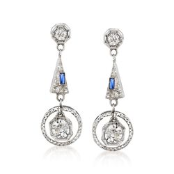 C. 1950 Vintage 1.30 ct. t.w. Diamond Drop Earrings With Synthetic Sapphires in 18kt White Gold, , default