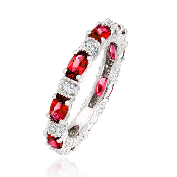 1.20 ct. t.w. Simulated Ruby and .30 ct. t.w. CZ Eternity Band in Sterling Silver, , default