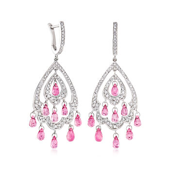 C. 1990 Vintage 4.50 ct. t.w. Pink Tourmaline and 1.00 ct. t.w. Diamond Drop Earrings in 18kt White Gold