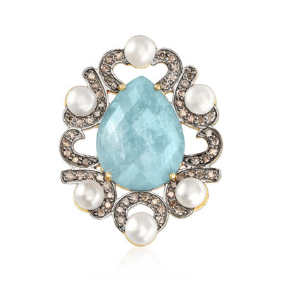 5mm Cultured Pearl, 10.00 Carat Aquamarine and 1.00 ct. t.w. Diamond Pin in 18kt Yellow Gold Over Sterling, , default