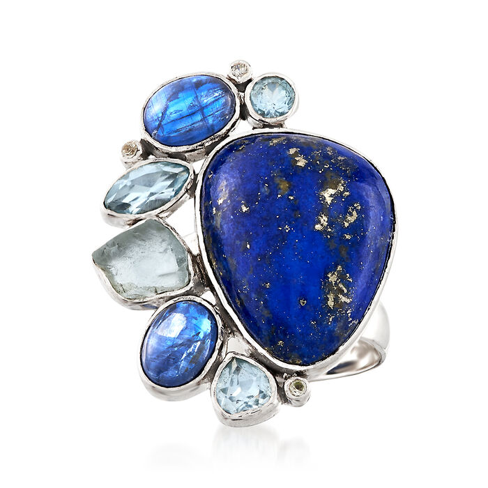 Lapis and 3.00 ct. t.w. Kyanite Ring with 1.96 ct. t.w. Blue Topaz in Sterling Silver