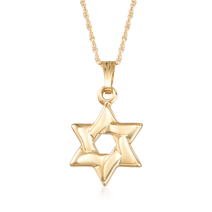 """Child's 14kt Yellow Gold Star of David Necklace. 15"""", , default"""
