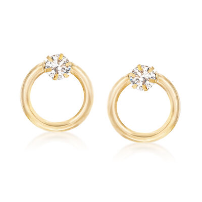 Italian 1.60 ct. t.w. CZ Circle Earrings in 14kt Yellow Gold, , default