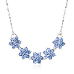 "3.80 ct. t.w. Tanzanite Floral Necklace in Sterling Silver. 18"", , default"