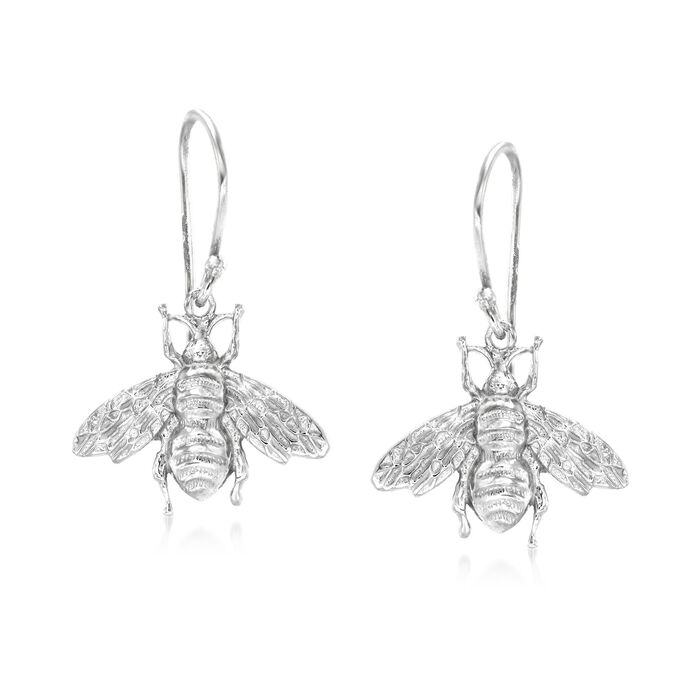 Italian Sterling Silver Bee Drop Earrings, , default