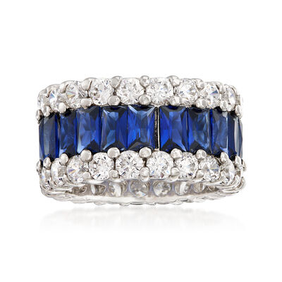 Simulated Sapphire and 4.40 ct. t.w. CZ Eternity Band in Sterling Silver, , default
