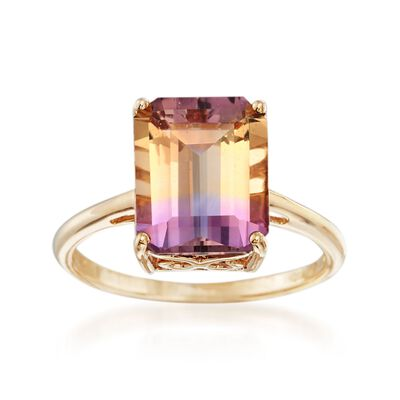3.40 Carat Ametrine Solitaire Ring in 14kt Yellow Gold, , default